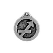 Sagittarius the Archer, Zodiac Talisman Pewter Pendant on Corded Necklace