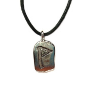 Rune Turaz Pewter Pendant on Corded Necklace, Ancient Runes Collection