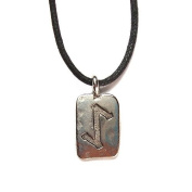 Rune Eihwaz Pewter Pendant on Corded Necklace, Ancient Runes Collection