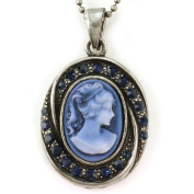 Dark Navy Blue Cameo Pendant Necklace Antique Bronze Brass Deep Blue Rhinestones Oval Lady Cameo Jewellery
