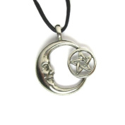 Pentacle Moon Pewter Pendant On Corded Necklace, The Celestial Collection