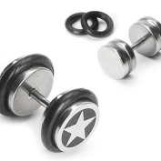 """316L Surgical Steel 16g """"Fake"""" Plug with Star Inlay - 1.2mm Diameter - Sold as a Pair"""