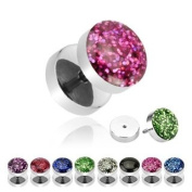 316L Surgical Steel Glitter Shimmer Dome Purple Fake Plug - 16G - Sold as a Pair