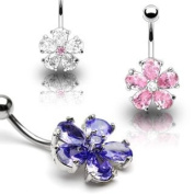 316L Surgical Steel Multi Tear Drop Tanzanite Gems Flower Belly Ring - 14G - Sold Individually