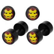 Marvel Comics Iron Man Steel Faux Plugs 18g