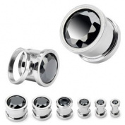 316L Surgical Steel Screw Fit Tunnels with Black Press Fit Gem - 0G (8mm) - Sold as a Pair