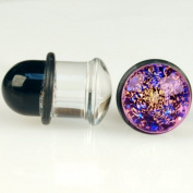 Pair of Glass Single Flared Two Colour Foil Galaxy Plugs