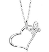 Open Heart Pendant Necklace with Butterfly Charm