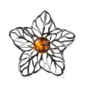 Sterling Silver Amber Crystal Flower Pendant