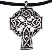Pewter Halo Celtic Cross Pendant with Black PVC Rope Chain