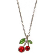 Cherry Necklace with. Crystals In Red with Silver Finish