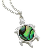 Silver Tone Green Abalone Shell Turtle Pendant Necklace