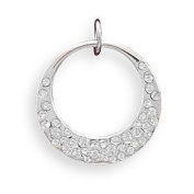 Open Circle Pendant Accented with. crystals - Silver Plate