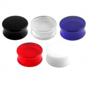 """Super Sized Acrylic Double Flared Plugs in White - 1 & 3/8"""" (35mm) Diameter - Sold as a Pair"""