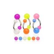 Body Colorz. Glow in Dark Belly Rings Set of 6 Navel Rings