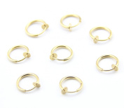 316L Surgical Stainless Steel 8 Gold Colour Clip On Fake Body Piercing Ear Nose Lip Ring Earrings Gothic Punk Jewellery