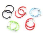 Random Colour 316L Surgical Steel 5 Pair Spring Clip On Hoop Earrings