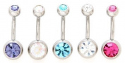 Body Colorz. Lot of 5 New Double Jewelled Gemmed Belly Navel Body Jewellery Piercing Bar Ring Rings 14g