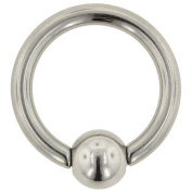 One Stainless Steel Captive Bead Ring with Spring Action Bead