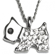 Sweet Scotty Puppy Dog Silver Tone Cubic Zirconia Pendant Necklace