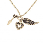 Angel Wing, Heart and Arrow Three Piece Charm Pendant with Chain