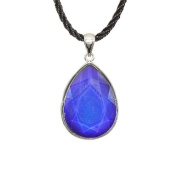 Faceted Teardrop Shape Silvertone Mood Stone Pendant on 45.7cm Black Silken Cord With Chain Extension