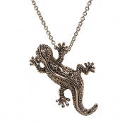 Gecko Pin Pendant with Genuine Marcasite
