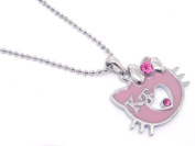 Adorable Pinkish Purple 'KT' Kitty Charm Necklace