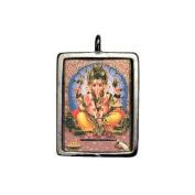 Ganesh, Hindu Deity Full Colour Enamelled Pendant on Cord Necklace