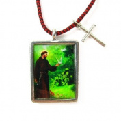 Saint Francis Full Colour Pendant With Mini Cross on Red / Black Corded Necklace