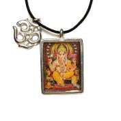 Ganesh, Hindu Deity Full Colour Pendant on Cord Necklace