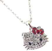 Sparkling Kitty Face Charm Necklace with Red Bow