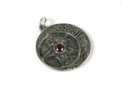 The Pentacle with Quarter Moon Pewter Pendant with Accent Stone, The Wiccan Collection