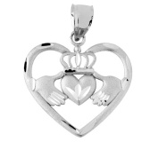 Heart Shaped Silver Claddagh Pendant