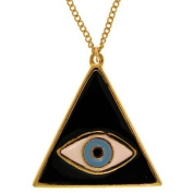 Triangular Mystical Lucky/Evil Eye Pendant Necklace, Quality Made in USA!, in Black with Gold Finish