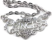 Princess Crown Tiara Heart Pendant Necklace Silver Tone Clear Stones Wedding Bridesmaid Prom Fashion Jewellery