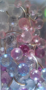"""Crystal Clear Disco Ball Belly Ring 14G , 3/8"""", 5 & 8mm Balls - Sold Individually"""