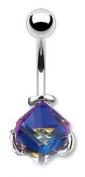 Body Colorz. Navel Ring with Square Crystal Ball - Blue