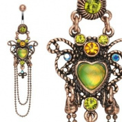Body Colorz. Vintage Style Heart Navel Ring with Chain Dangle - 14G 1cm