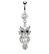 Owl W/marquise Gems Belly Navel Ring Dangle Button Piercing Jewellery