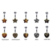 "316L Implant Grade Surgical Steel Big Leopard Print Heart Belly Ring - 14g (1.6mm), 3/8"" (10mm) Length- Sold Individually"