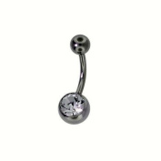 Silver Tone Stainless Steel Single 7mm Clear CZ Belly Button Banana Navel Ring 14 Gauge
