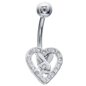 CZ Heart Licenced Playboy Bunny Belly Button Ring
