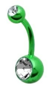 GREEN Neon Crystal Double Gem Belly Navel Ring Piercing PREMIUM ANODIZED Titanium 14g 316L Surgical Grade Steel [Brand New for 2012]