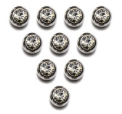 Replacement Belly Navel Ring Top Ball WITH GEM 5mm 14g Silver 10pcs