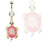 Gold IP Over 316L Surgical Steel Pink Epoxy Paved Gem Turtle Navel Ring - 14G (1.6mm), 10mm Length - Sold Individually