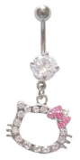Hello Kitty Pink Bow Cz Head dangle Belly navel Ring piercing bar body jewellery