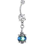 Handcrafted Glow In The Dark Silver Mood Belly Ring