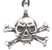 Skull And Crossbones Pewter Pendant Necklace