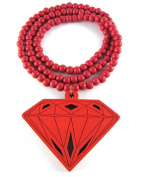 Large Wooden Diamond Supply Co. BBC Pendant Bead Chain Necklace ALL GOOD WOOD STYLE! red